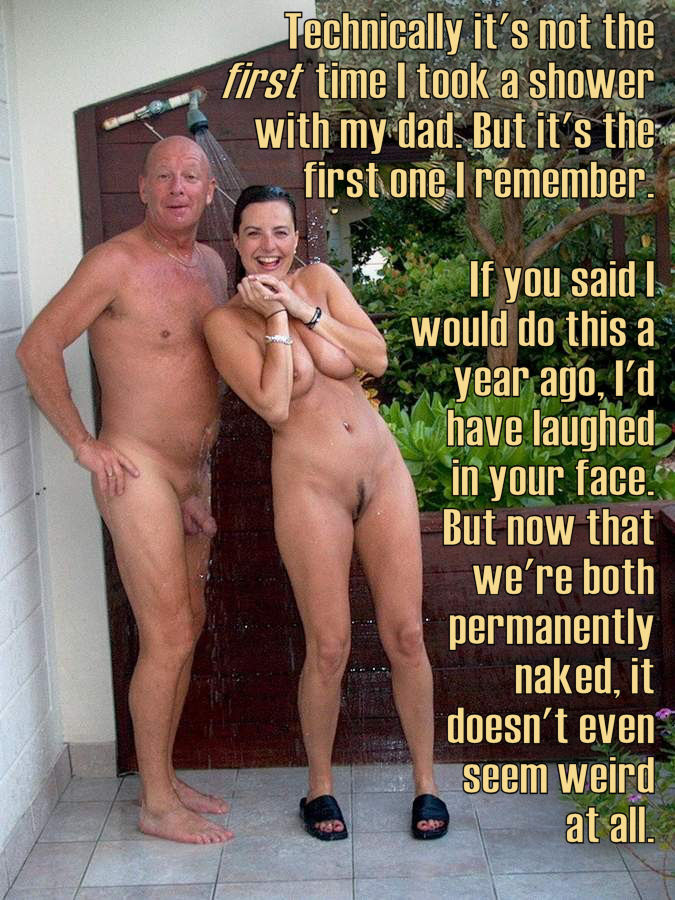 Nude family shower together